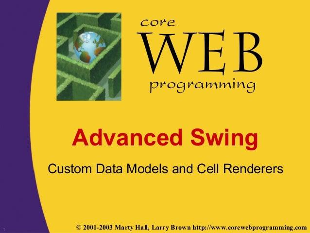 1 © 2001-2003 Marty Hall, Larry Brown http://www.corewebprogramming.com core programming Advanced Swing Custom Data Models...