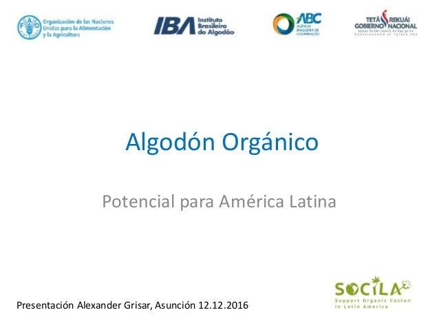 Algodón Orgánico Potencial para América Latina Presentación Alexander Grisar, Asunción 12.12.2016