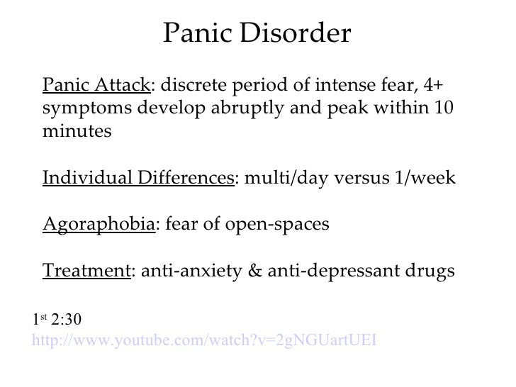 the psychology of panic disorder Panic disorder sufferers often develop phobias about places where previous  episodes have occurred—such as shopping malls they also develop fears  about.