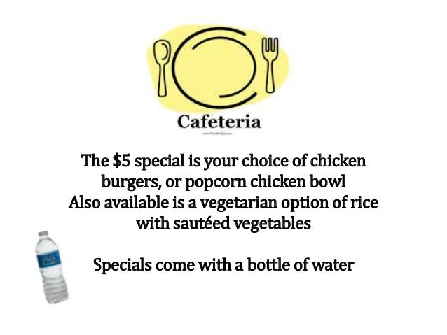 The $5 special is your choice of chicken burgers, or popcorn chicken bowl Also available is a vegetarian option of rice wi...