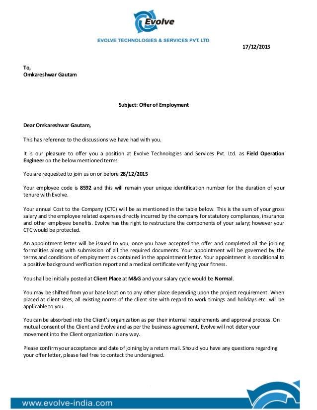 17122015 to omkareshwar gautam subject offer of employment dear omkareshwar