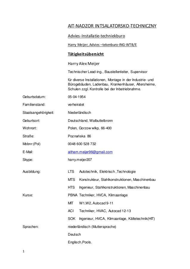 1 AIT-NADZOR INTSALATORSKO-TECHNICZNY Advies-Installatie-techniekburo Harry Meijer, Advies –tekenburo-ING-WTB/E Tätigkeits...