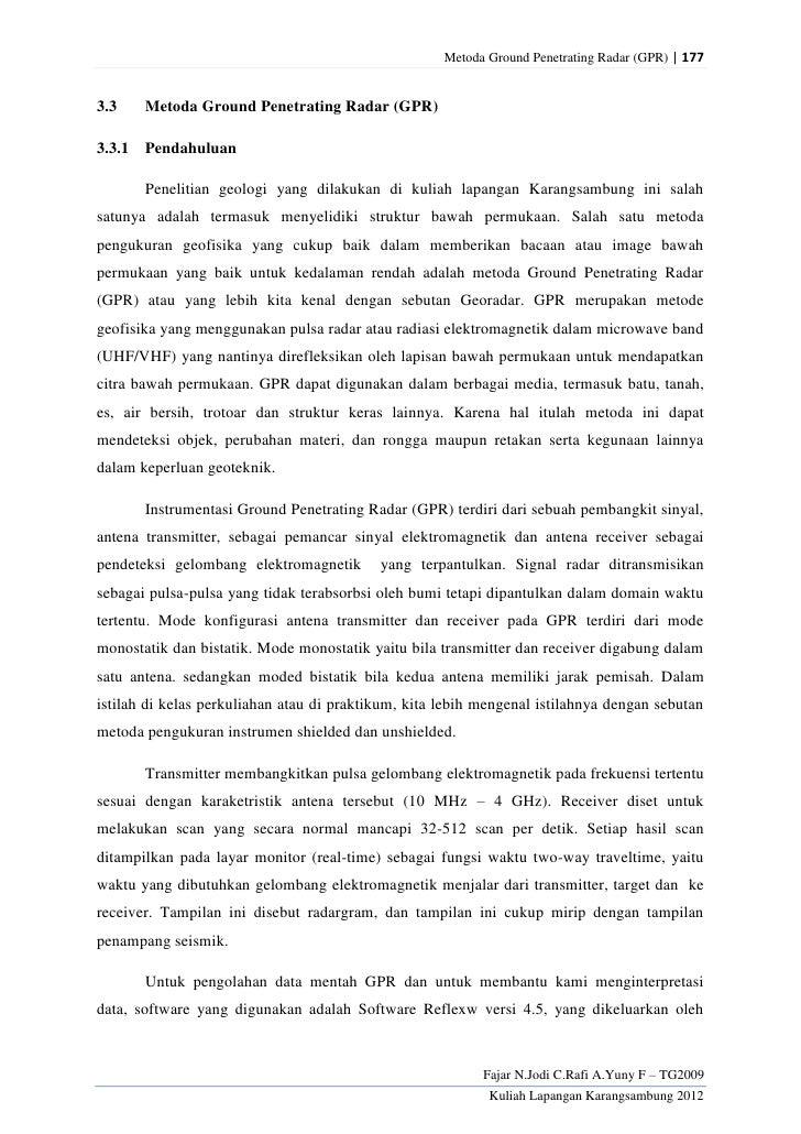 Metoda Ground Penetrating Radar (GPR) | 1773.3    Metoda Ground Penetrating Radar (GPR)3.3.1 Pendahuluan       Penelitian ...