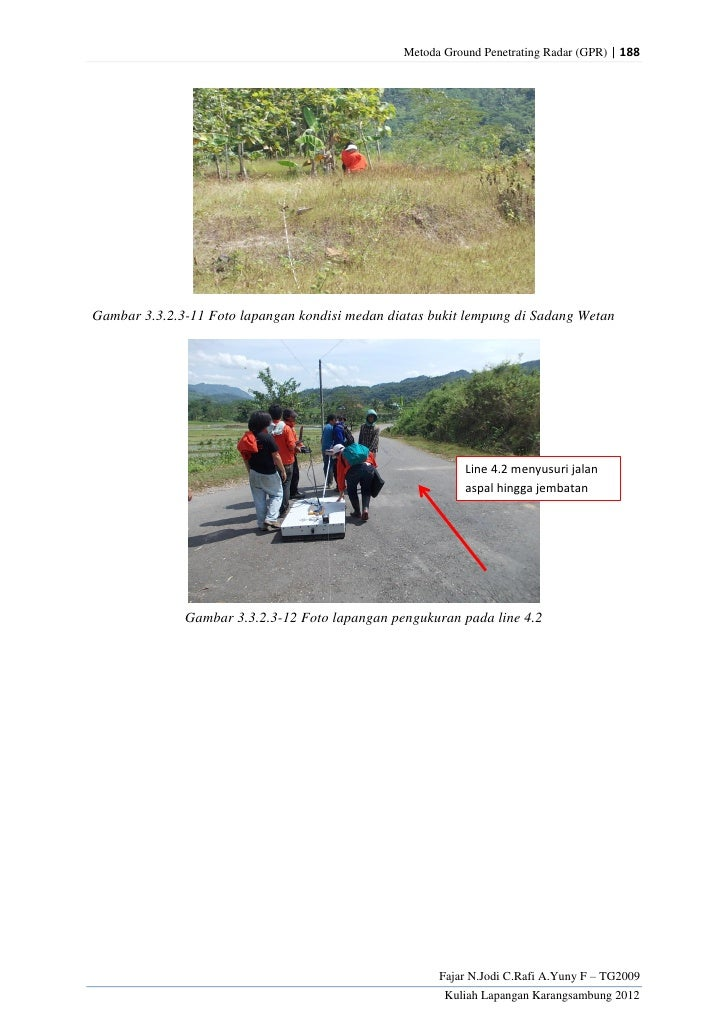 Metoda Ground Penetrating Radar (GPR) | 188Gambar 3.3.2.3-11 Foto lapangan kondisi medan diatas bukit lempung di Sadang We...