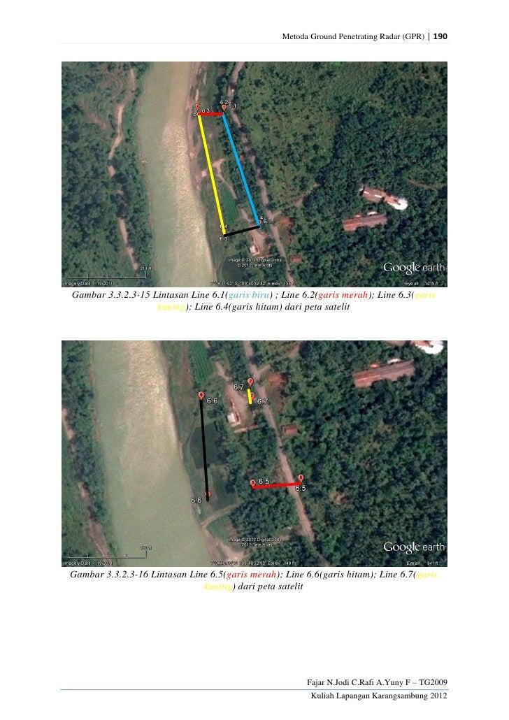 Metoda Ground Penetrating Radar (GPR) | 190Gambar 3.3.2.3-15 Lintasan Line 6.1(garis biru) ; Line 6.2(garis merah); Line 6...