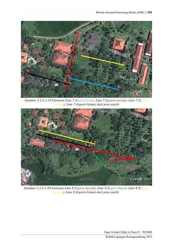Metoda Ground Penetrating Radar (GPR) | 192Gambar 3.3.2.3-19 Lintasan Line 7.1(garis biru) ; Line 7.2(garis merah); Line 7...