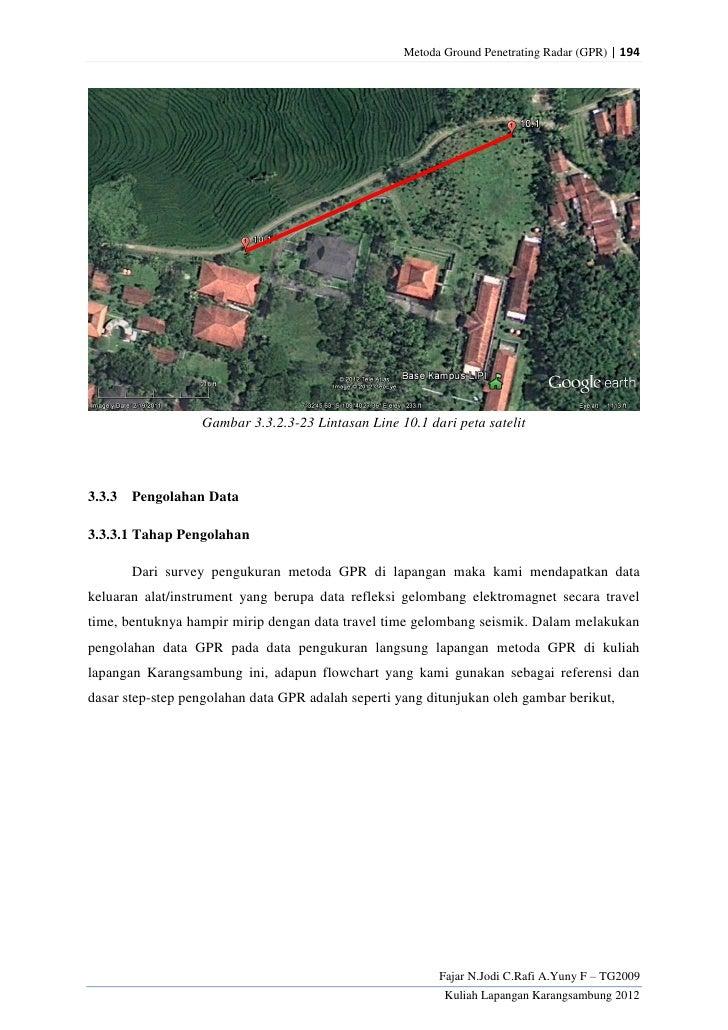 Metoda Ground Penetrating Radar (GPR) | 194                  Gambar 3.3.2.3-23 Lintasan Line 10.1 dari peta satelit3.3.3 P...