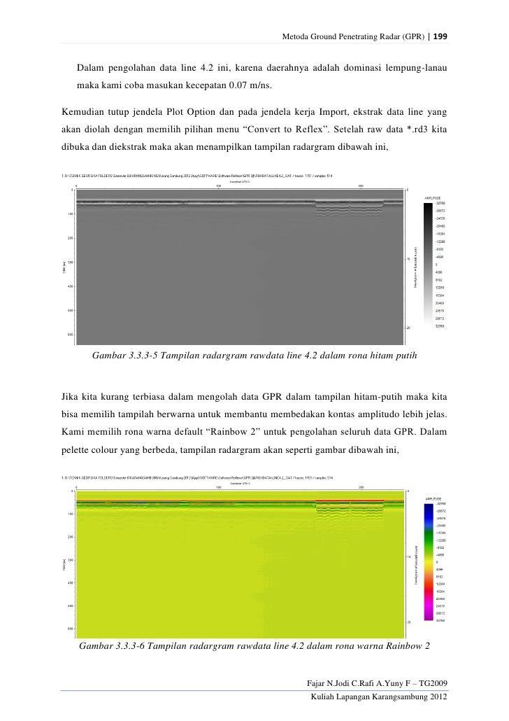 Metoda Ground Penetrating Radar (GPR) | 199   Dalam pengolahan data line 4.2 ini, karena daerahnya adalah dominasi lempung...