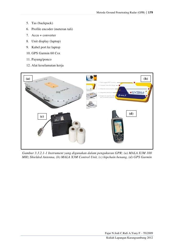 Metoda Ground Penetrating Radar (GPR) | 179  5. Tas (backpack)  6. Profile encoder (meteran tali)  7. Accu + converter  8....