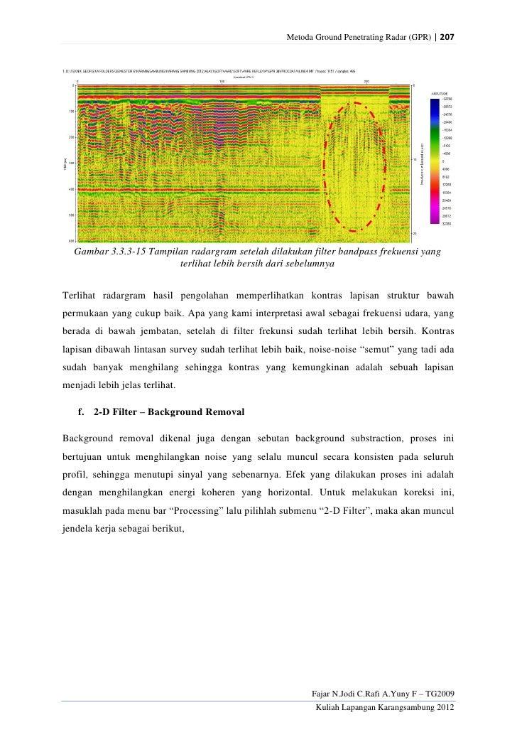Metoda Ground Penetrating Radar (GPR) | 207  Gambar 3.3.3-15 Tampilan radargram setelah dilakukan filter bandpass frekuens...