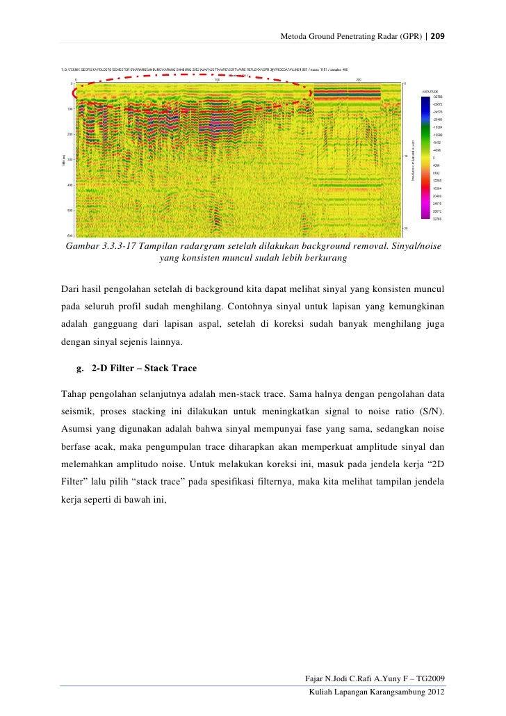 Metoda Ground Penetrating Radar (GPR) | 209 Gambar 3.3.3-17 Tampilan radargram setelah dilakukan background removal. Sinya...