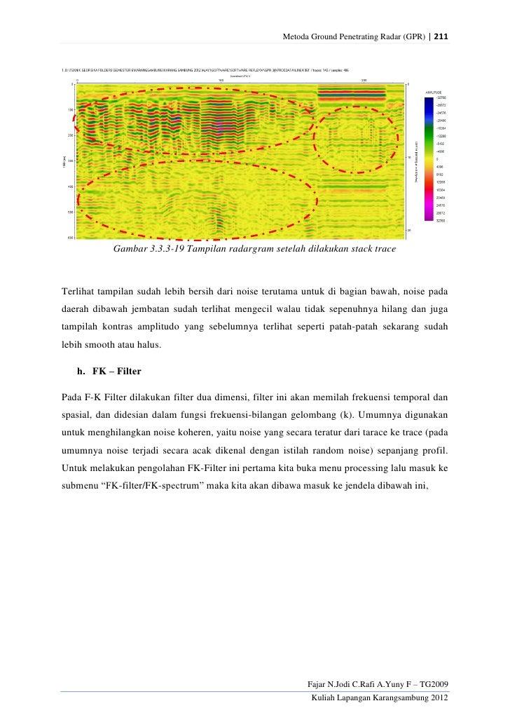 Metoda Ground Penetrating Radar (GPR) | 211            Gambar 3.3.3-19 Tampilan radargram setelah dilakukan stack traceTer...