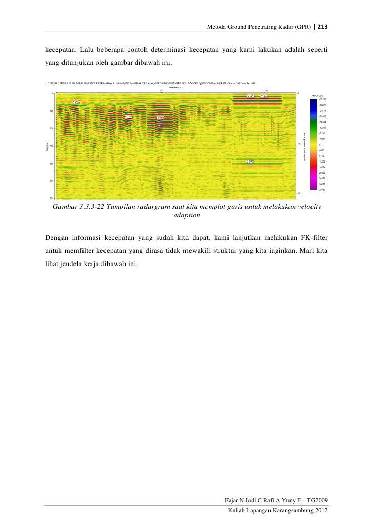 Metoda Ground Penetrating Radar (GPR) | 213kecepatan. Lalu beberapa contoh determinasi kecepatan yang kami lakukan adalah ...
