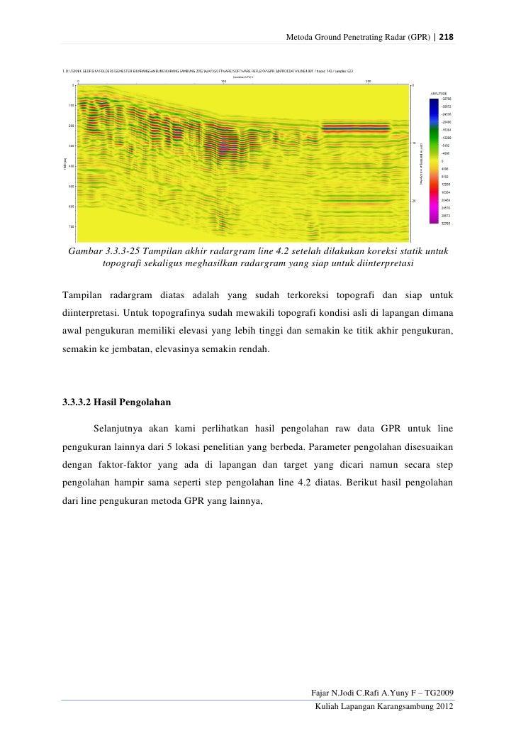 Metoda Ground Penetrating Radar (GPR) | 218 Gambar 3.3.3-25 Tampilan akhir radargram line 4.2 setelah dilakukan koreksi st...