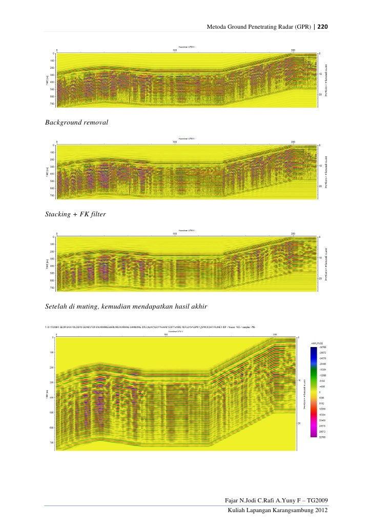 Metoda Ground Penetrating Radar (GPR) | 220Background removalStacking + FK filterSetelah di muting, kemudian mendapatkan h...