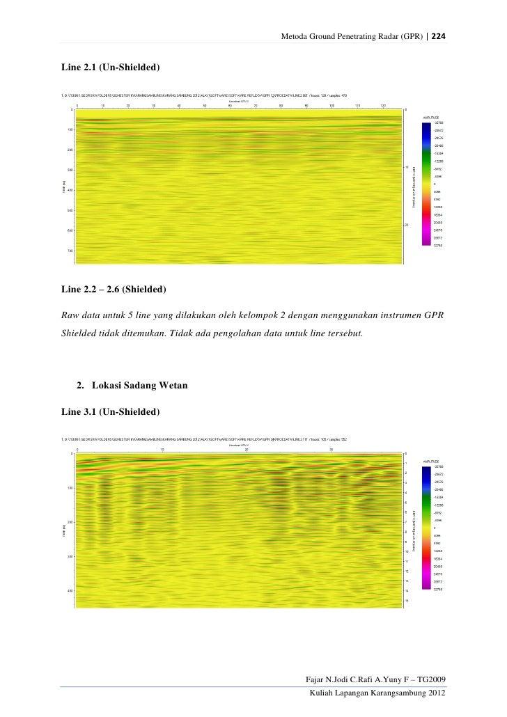 Metoda Ground Penetrating Radar (GPR) | 224Line 2.1 (Un-Shielded)Line 2.2 – 2.6 (Shielded)Raw data untuk 5 line yang dilak...