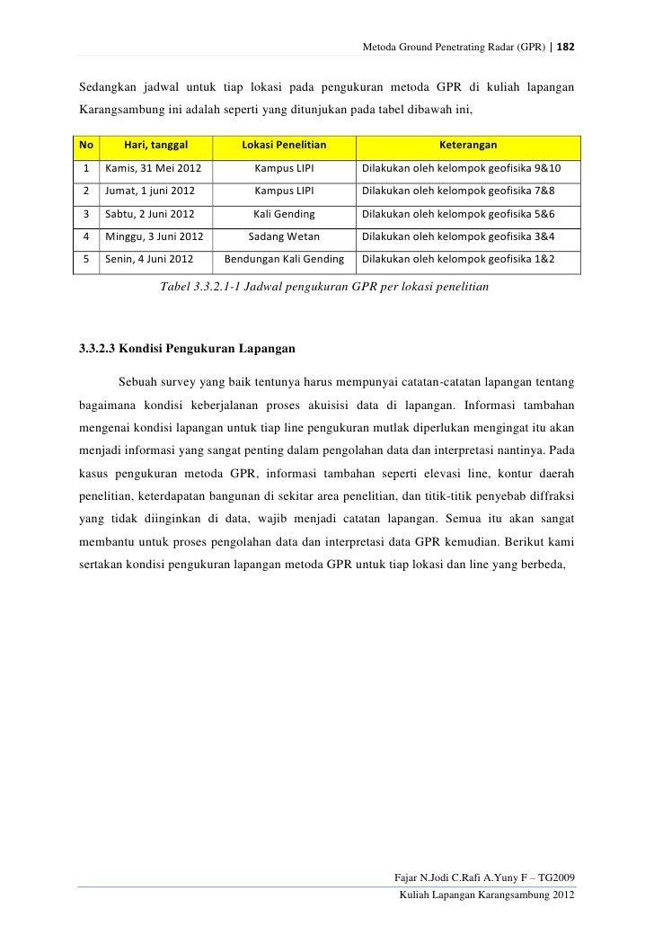 Metoda Ground Penetrating Radar (GPR) | 182Sedangkan jadwal untuk tiap lokasi pada pengukuran metoda GPR di kuliah lapanga...