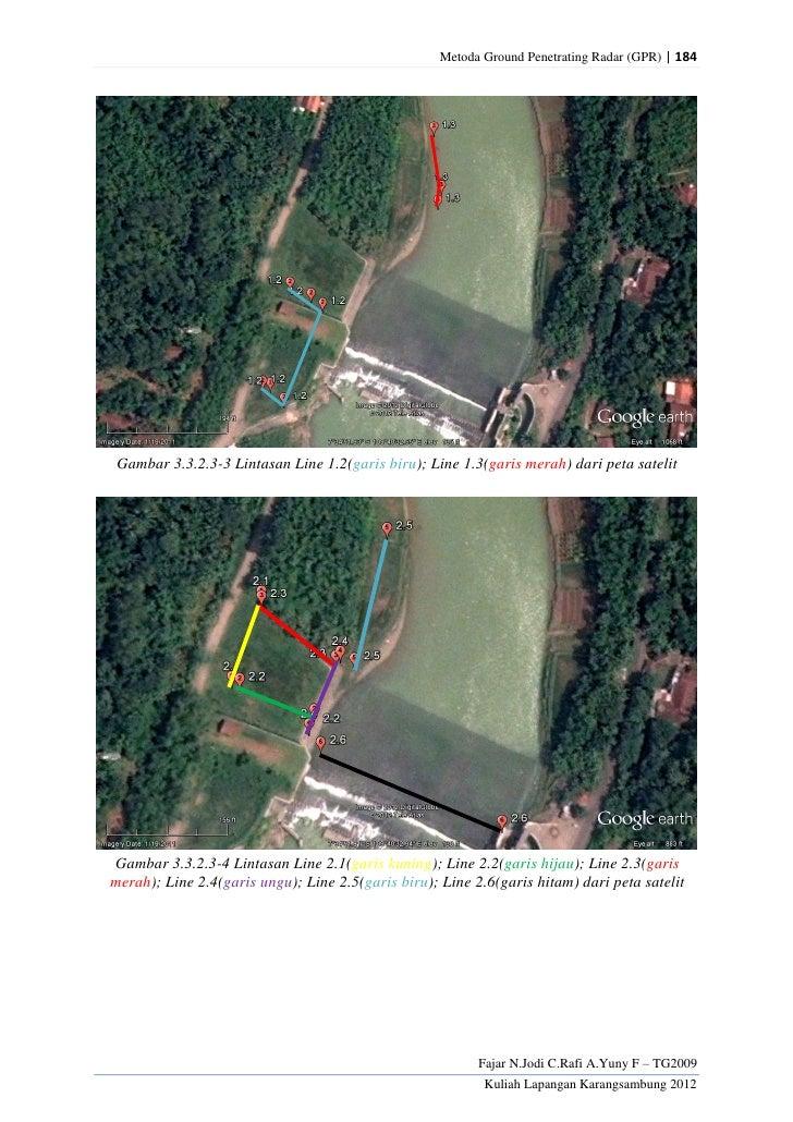 Metoda Ground Penetrating Radar (GPR) | 184 Gambar 3.3.2.3-3 Lintasan Line 1.2(garis biru); Line 1.3(garis merah) dari pet...