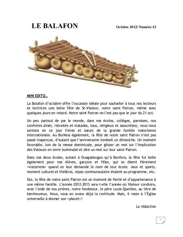 LE BALAFON                                           Octobre 2012/ Numéro-12MINI EDITO…La Balafon d'octobre offre l'occasi...