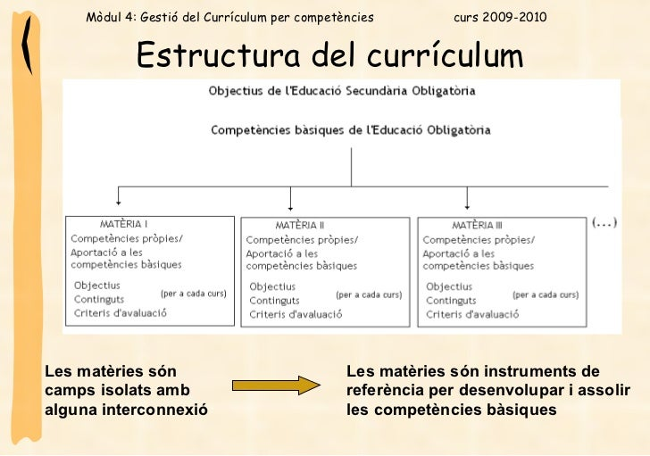Estructura del currículum   Les matèries són camps isolats amb alguna interconnexió   Les matèries són instruments de refe...