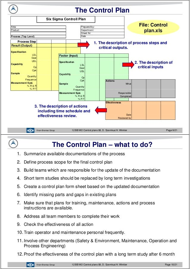 Javier Garcia - Verdugo Sanchez - Six Sigma Training - W2 Control Plan