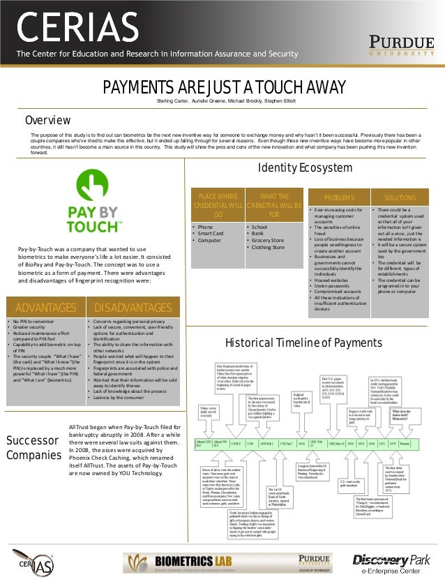 PAYMENTS ARE JUST A TOUCH AWAY The purpose of this study is to find out can biometrics be the next new inventive way for s...