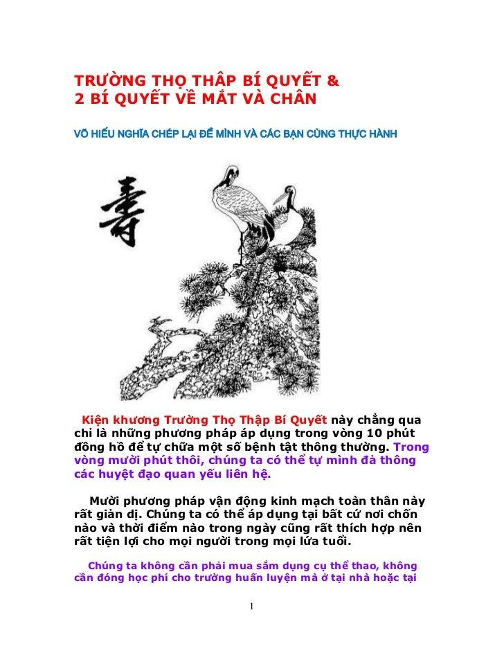 TRƯỜNG THỌ THÂP BÍ QUYẾT &2 BÍ QUYẾT VỀ MẮT VÀ CHÂNVÕ HIẾU NGHĨA CHÉP LẠI ĐỂ MÌNH VÀ CÁC BẠN CÙNG THỰC HÀNH Kiện khương Tr...