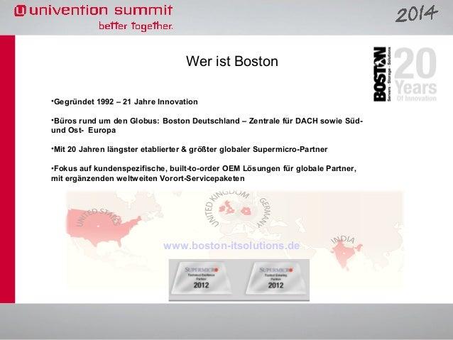 Wer ist Boston •Gegründet 1992 – 21 Jahre Innovation •Büros rund um den Globus: Boston Deutschland – Zentrale für DACH sow...