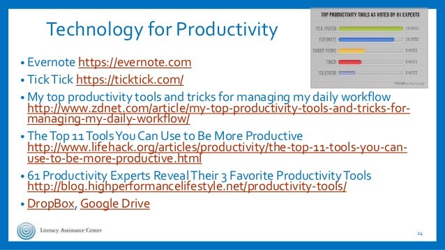 Technology for Productivity • Evernote https://evernote.com • TickTick https://ticktick.com/ • My top productivity tools a...