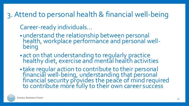 3. Attend to personal health & financial well-being Career-ready individuals… •understand the relationship between persona...