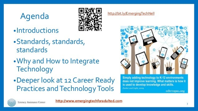 Agenda •Introductions •Standards, standards, standards •Why and How to Integrate Technology •Deeper look at 12 Career Read...