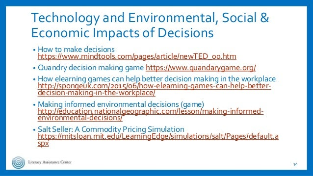 Technology and Environmental, Social & Economic Impacts of Decisions • How to make decisions https://www.mindtools.com/pag...