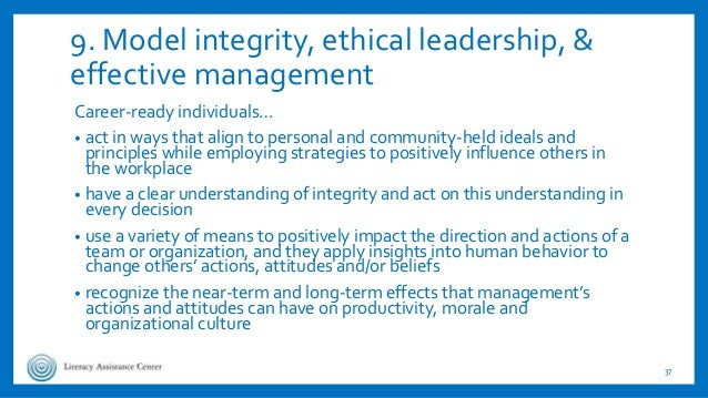 9. Model integrity, ethical leadership, & effective management Career-ready individuals… • act in ways that align to perso...