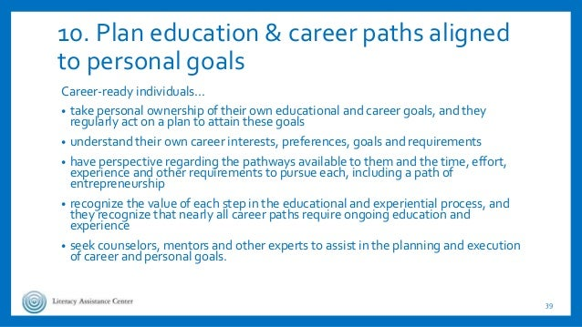 10. Plan education & career paths aligned to personal goals Career-ready individuals… • take personal ownership of their o...