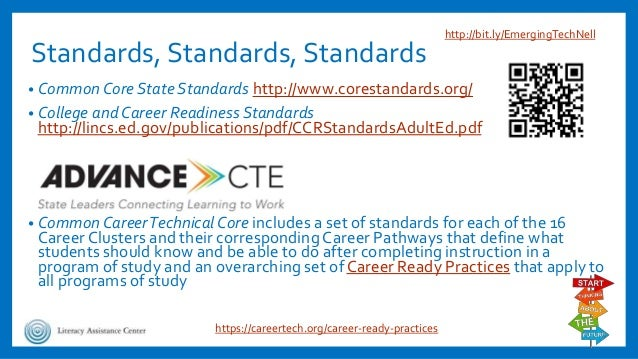 Standards, Standards, Standards • CommonCore State Standards http://www.corestandards.org/ • College and Career Readiness ...