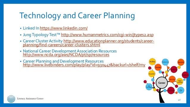 Technology and Career Planning • Linked In https://www.linkedin.com/ • JungTypologyTest™ http://www.humanmetrics.com/cgi-w...