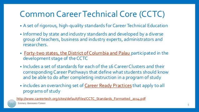 Common CareerTechnical Core (CCTC) • A set of rigorous, high-quality standards for CareerTechnical Education • Informed by...