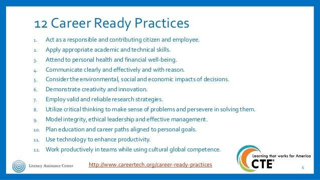12 Career Ready Practices 1. Act as a responsible and contributing citizen and employee. 2. Apply appropriate academic and...