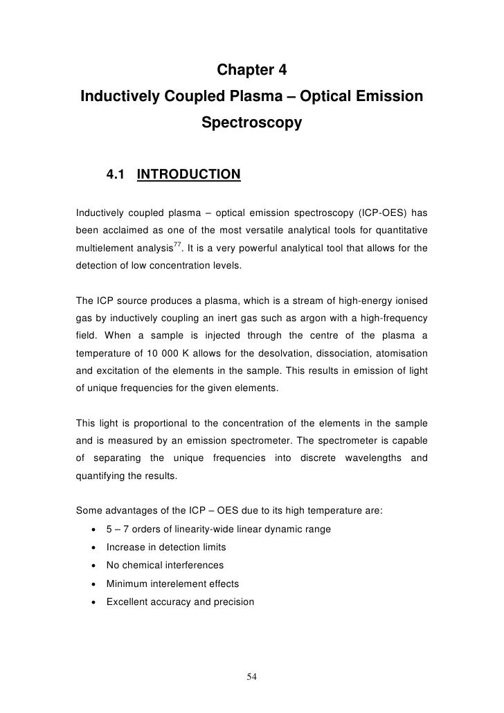 Chapter 4 Inductively Coupled Plasma – Optical Emission                             Spectroscopy       4.1 INTRODUCTIONInd...
