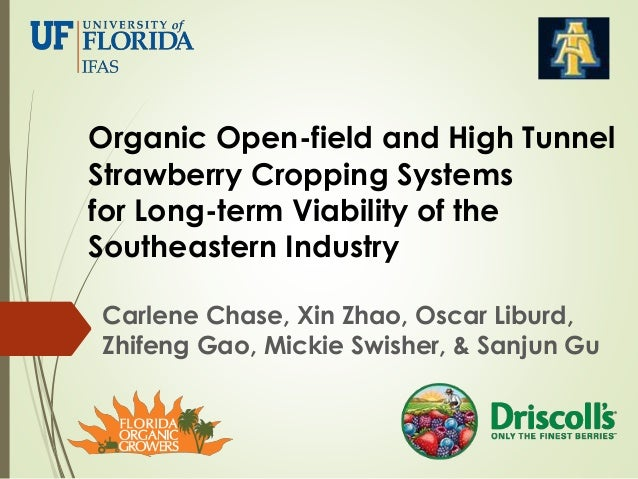Organic Open-field and High Tunnel Strawberry Cropping Systems for Long-term Viability of the Southeastern Industry Carlen...
