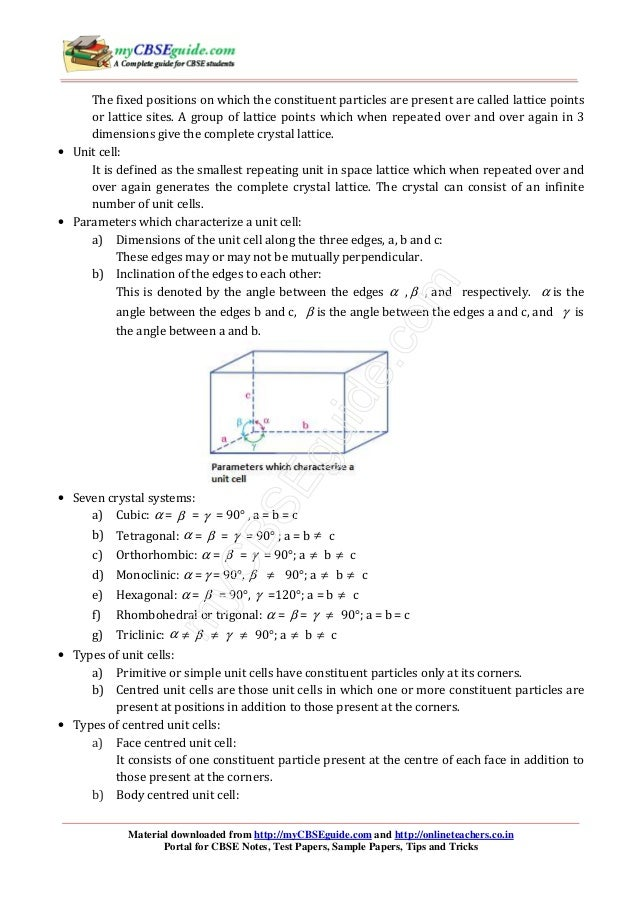 The solid state CH01 12 NCERT chemistry notes
