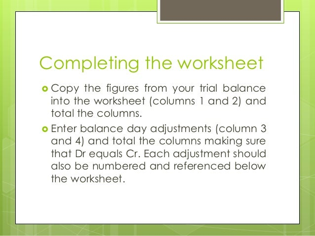 Six Column Trial Balance Worksheet : Column worksheet