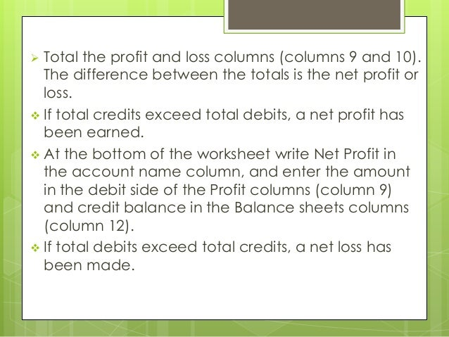 12 column worksheet – Profit and Loss Worksheet