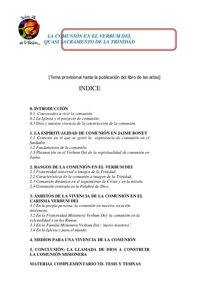 LA COMUNIÓN EN EL VERBUM DEI,        QUASI SACRAMENTO DE LA TRINIDAD          [Tema provisional hasta la publicación del l...