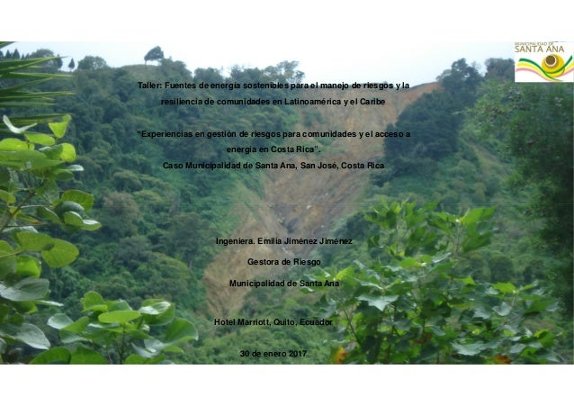 Taller: Fuentes de energía sostenibles para el manejo de riesgos y la resiliencia de comunidades en Latinoamérica y el Car...
