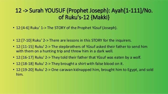 12 contents of surah yusuf
