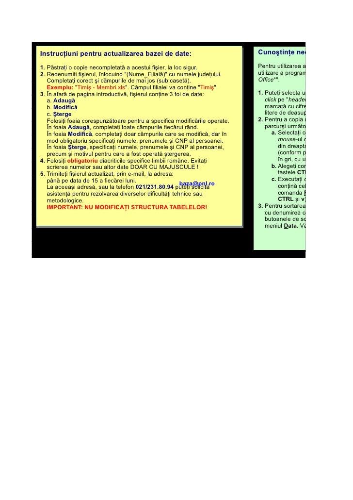 Cunoştinţe necesare: Instrucţiuni pentru actualizarea bazei de date:                                                      ...