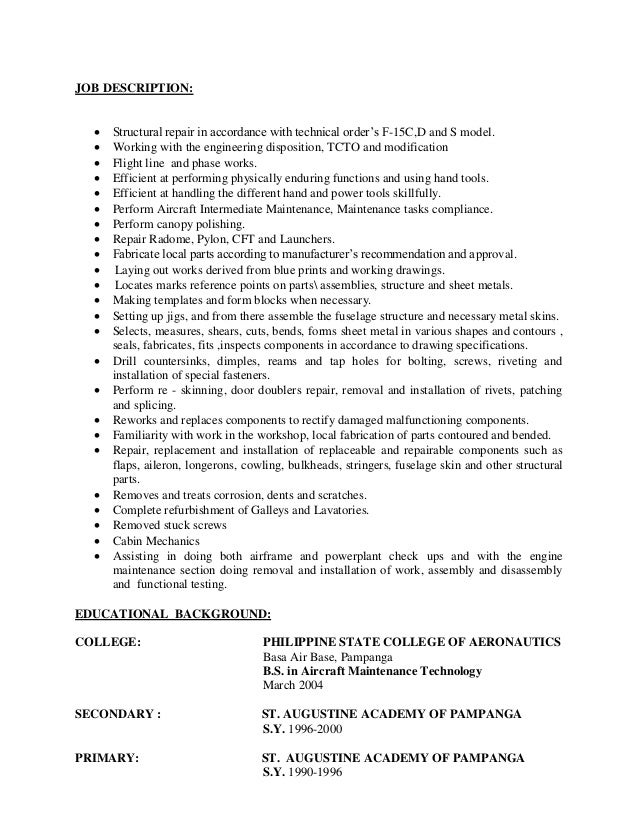resume airline mechanic jobs