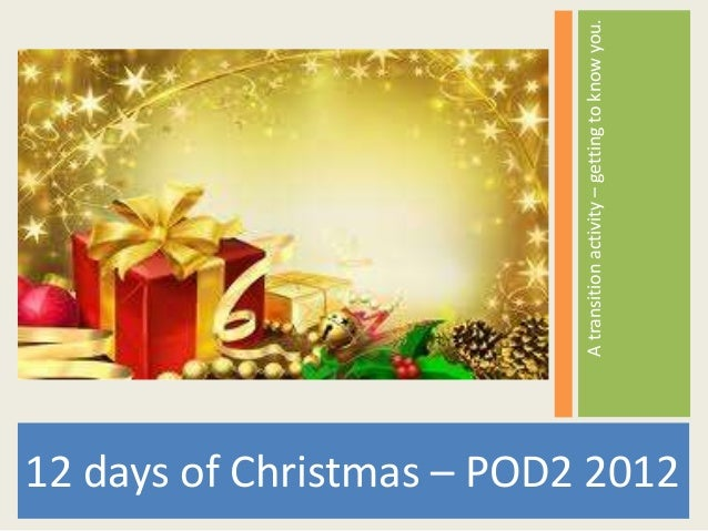 A transition activity – getting to know you.12 days of Christmas – POD2 2012