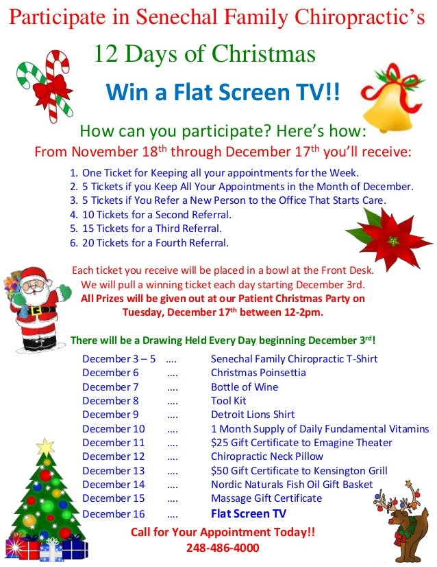12 Days Of Christmas Party Ideas Part - 31: Participate In Senechal Family Chiropracticu0027s 12 Days Of Christmas Gamea  Flat Screen TV!! Win